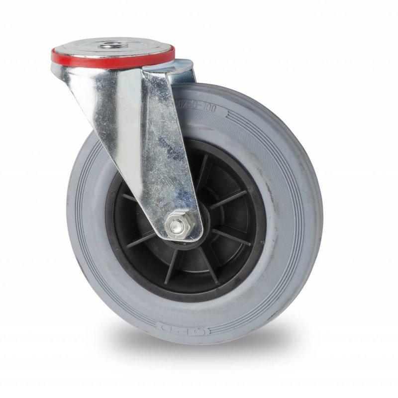 drejelig hjul , Ø 125mm, massiv grå gummi, 130KG