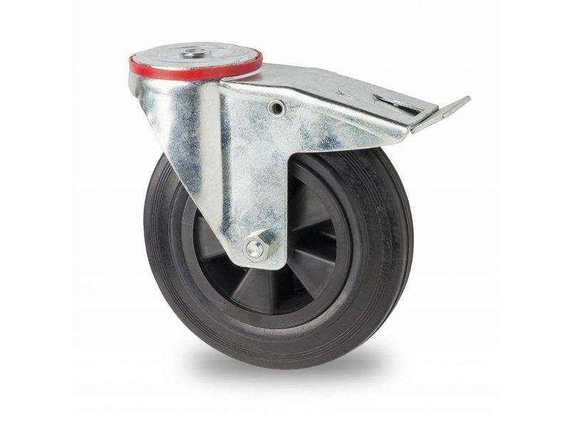 Transporthjul drejelig hjul  med bremse af Stål, boltmontering, Massiv sort gummi, rulleleje, Hjul-Ø 125mm, 100KG