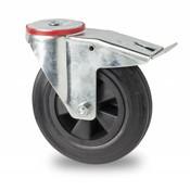 drejelig hjul  med bremse, Ø 100mm, Massiv sort gummi, 80KG