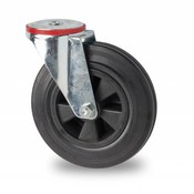 drejelig hjul , Ø 160mm, Massiv sort gummi, 180KG