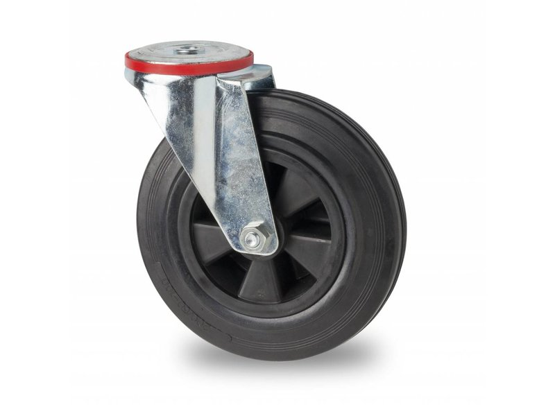 Transporthjul drejelig hjul  af Stål, boltmontering, Massiv sort gummi, rulleleje, Hjul-Ø 80mm, 65KG