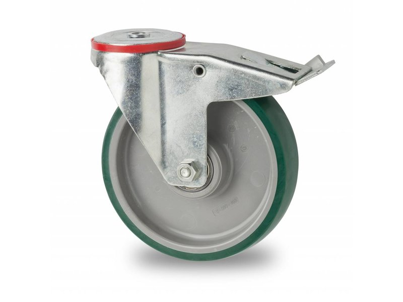 Transporthjul drejelig hjul  med bremse af Stål, boltmontering, polyuretan, kugleleje, Hjul-Ø 200mm, 300KG