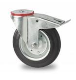 Transporthjul drejelig hjul  med bremse af Stål, boltmontering, Massiv sort gummi, rulleleje, Hjul-Ø 160mm, 180KG