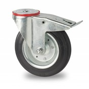 drejelig hjul  med bremse, Ø 160mm, Massiv sort gummi, 180KG