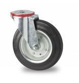 Transporthjul drejelig hjul  af Stål, boltmontering, Massiv sort gummi, rulleleje, Hjul-Ø 200mm, 200KG