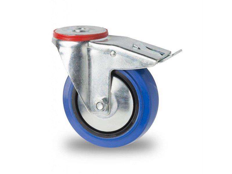 rueda giratoria con freno 125mm goma el stica 150kg