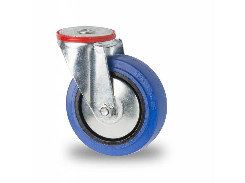 Transporthjul drejelig hjul  af Stål, boltmontering, elastisk gummi, rulleleje, Hjul-Ø 125mm, 150KG