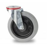 Transporthjul drejelig hjul  af Stål, boltmontering, elastisk gummi, 2-RS DIN-kugleleje, Hjul-Ø 125mm, 200KG