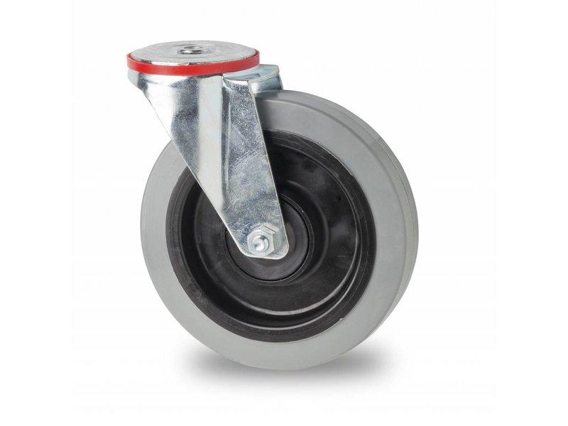 Transporthjul drejelig hjul  af Stål, boltmontering, elastisk gummi, 2-RS DIN-kugleleje, Hjul-Ø 100mm, 150KG