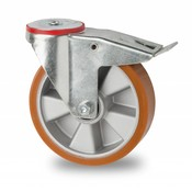 swivel castor with brake, Ø 200mm, vulcanized polyurethane tread, 400KG