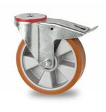 Transporthjul drejelig hjul  med bremse af Stål, boltmontering, vulkaniseret polyuretan, kugleleje, Hjul-Ø 160mm, 300KG