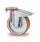 Transporthjul drejelig hjul  med bremse af Stål, boltmontering, vulkaniseret polyuretan, kugleleje, Hjul-Ø 125mm, 200KG