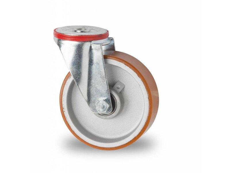 Transporthjul drejelig hjul  af Stål, boltmontering, vulkaniseret polyuretan, kugleleje, Hjul-Ø 125mm, 200KG