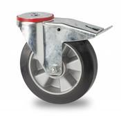 swivel castor with brake, Ø 160mm, elastic-tyre, 300KG