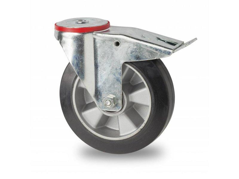 Transporthjul drejelig hjul  med bremse af Stål, boltmontering, elastisk gummi, kugleleje, Hjul-Ø 160mm, 300KG