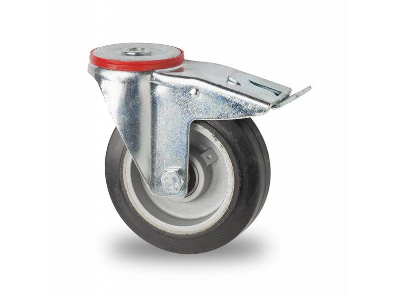 Transporthjul drejelig hjul  med bremse af Stål, boltmontering, elastisk gummi, kugleleje, Hjul-Ø 125mm, 200KG