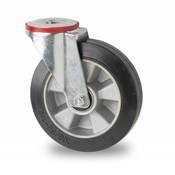 drejelig hjul , Ø 200mm, elastisk gummi, 400KG