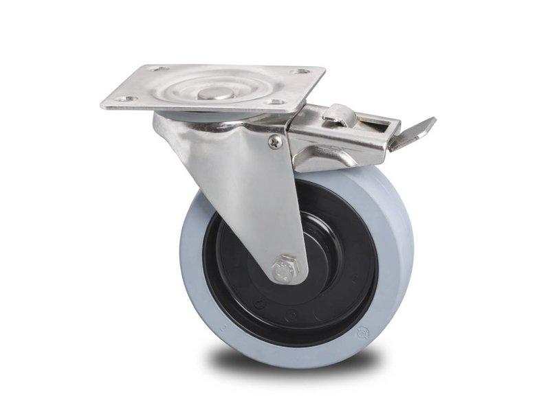 Rustfri hjul drejelig hjul  med bremse af Rustfrit stål Blachy, , grå termoplastisk gummi afsmitningsfri, kugleleje Rustfrit stål, Hjul-Ø 200mm, 400KG