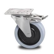 drejelig hjul med bremse, Ø 160mm, grå termoplastisk gummi afsmitningsfri, 300KG