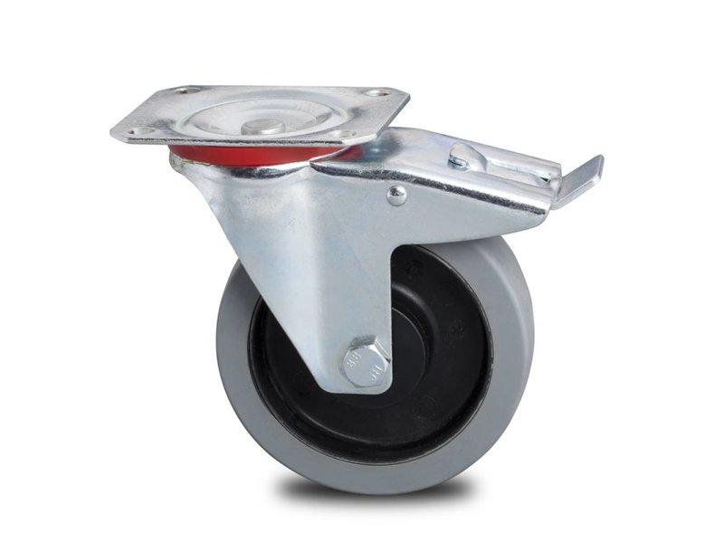 Transporthjul drejelig hjul  med bremse af Stål, , grå termoplastisk gummi afsmitningsfri, kugleleje, Hjul-Ø 200mm, 400KG