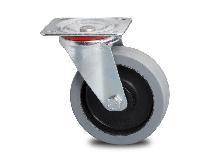 Transporthjul drejelig hjul  af Stål, , grå termoplastisk gummi afsmitningsfri, kugleleje, Hjul-Ø 200mm, 400KG