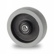 Hjul, Ø 125mm, grå termoplastisk gummi afsmitningsfri, 200KG