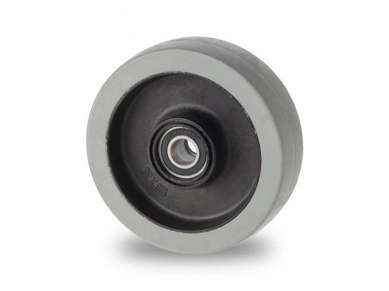 Zestawy kołowe transportowe Koła z termoplastyczna guma szara, niebrudząca, Precyzyjne łożysko kulkowe stali kwasoodpornej, koła / rolki-Ø125mm, 200KG