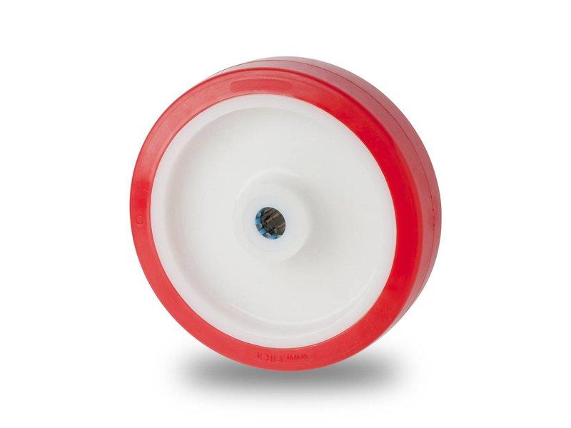 Inox / stal nierdzewna AISI 304 Koła z wtryskiwanego poliuretanu, łożysko rolkowe stali kwasoodpornej, koła / rolki-Ø150mm, 650KG