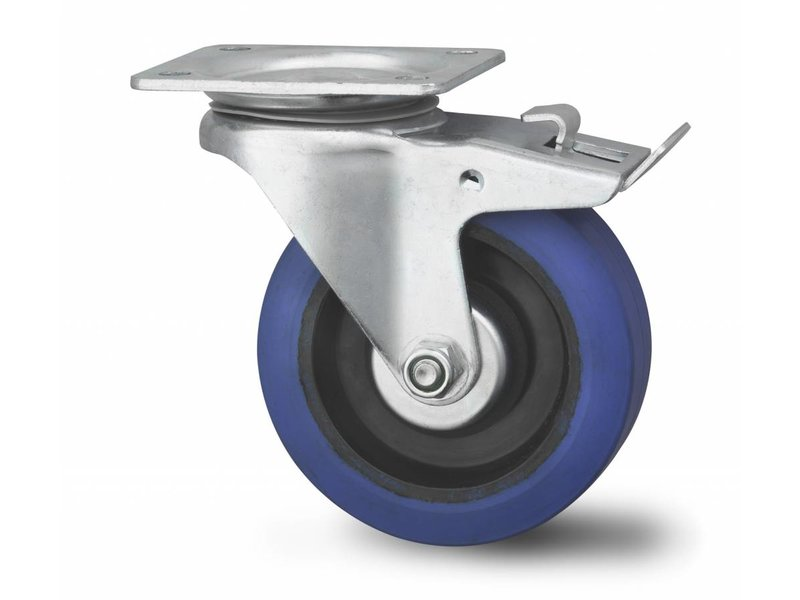 Transporthjul drejelig hjul  med bremse af Presset hårdt stål, pladebefæstigelse, elastisk gummi, , Hjul-Ø 100mm, 160KG