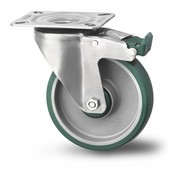 drejelig hjul  med bremse, Ø 200mm, polyuretan, 300KG