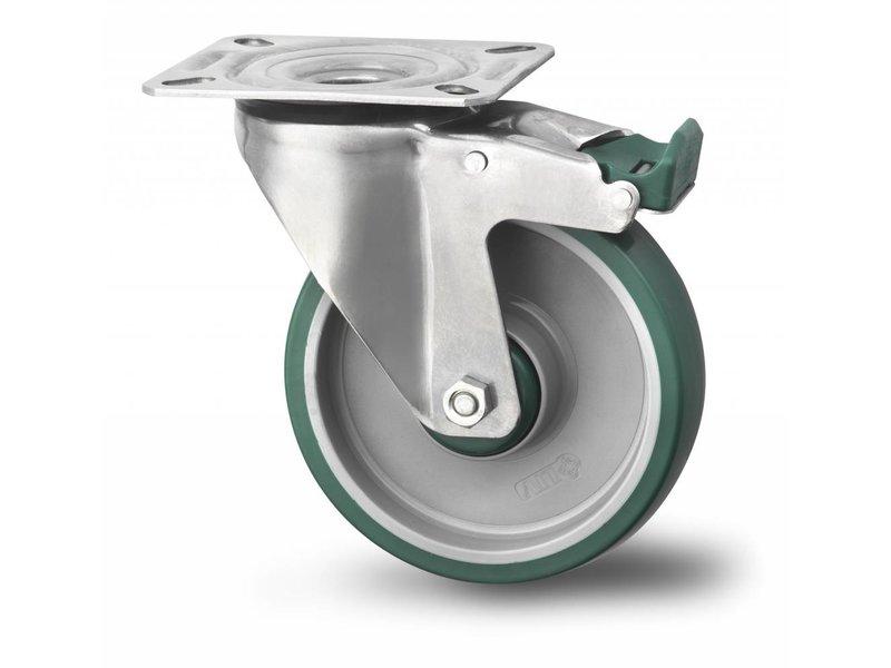 Rustfri hjul drejelig hjul  med bremse af Rustfrit stål Blachy, pladebefæstigelse, polyuretan, glideleje, Hjul-Ø 200mm, 300KG