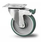 Rustfri hjul drejelig hjul  med bremse af Rustfrit stål Blachy, pladebefæstigelse, polyuretan, glideleje, Hjul-Ø 160mm, 300KG