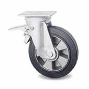 drejelig hjul  med bremse, Ø 200mm, vulkaniseret gummi elastisk dæk, 400KG