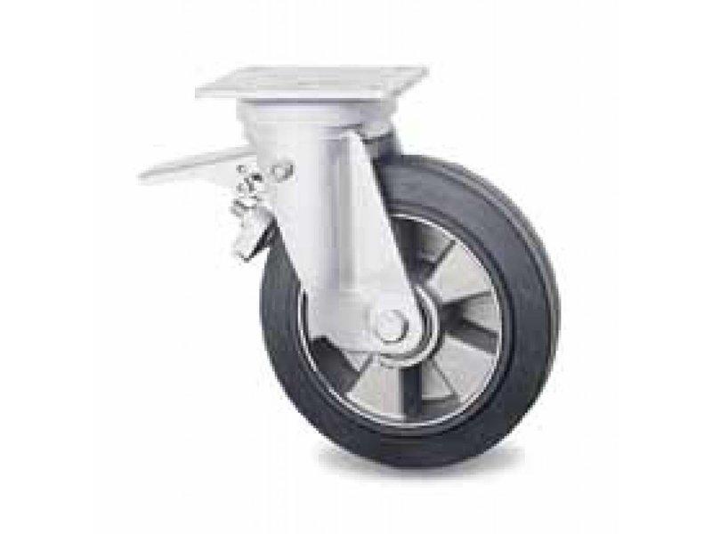 Transporthjul drejelig hjul  med bremse af Presset hårdt stål, pladebefæstigelse, vulkaniseret gummi elastisk dæk, kugleleje, Hjul-Ø 200mm, 400KG
