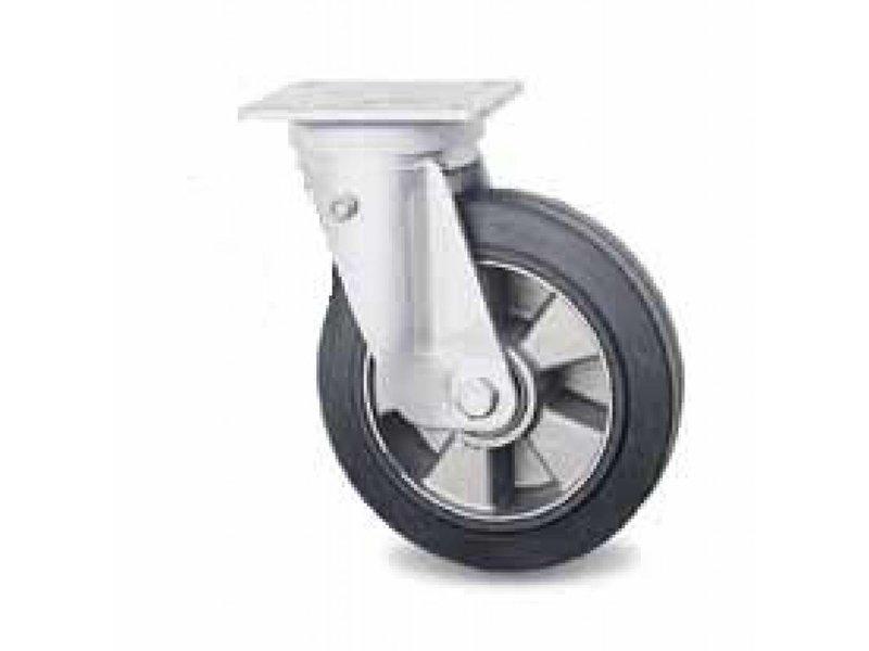 Transporthjul drejelig hjul  af Presset hårdt stål, pladebefæstigelse, vulkaniseret gummi elastisk dæk, kugleleje, Hjul-Ø 200mm, 400KG