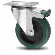 drejelig hjul  med bremse, Ø 125mm, vulkaniseret gummi elastisk dæk, 200KG