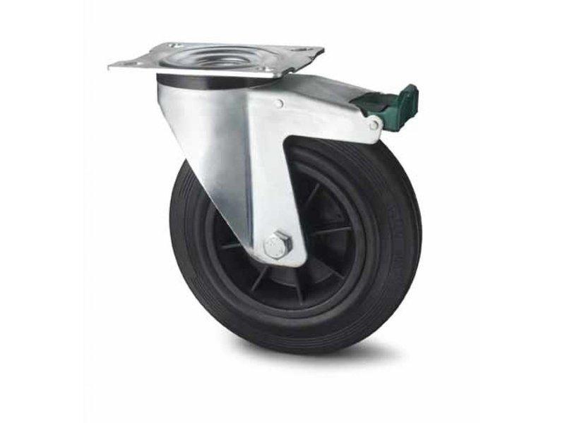 Transporthjul drejelig hjul  med bremse af Stål, pladebefæstigelse, Massiv sort gummi, rulleleje, Hjul-Ø 80mm, 65KG