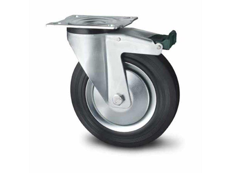 Transporthjul drejelig hjul  med bremse af Stål, pladebefæstigelse, Massiv sort gummi, rulleleje, Hjul-Ø 125mm, 130KG