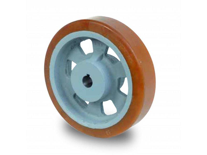 Schwerlast Räder und Rollen Antriebsräder Vulkollan® Bayer  Lauffläche Radkörper aus Gußeisen, H7-Bohrung Bohrung mit Paßfedernut DIN 6885 JS9, Rad-Ø 160mm, 250KG