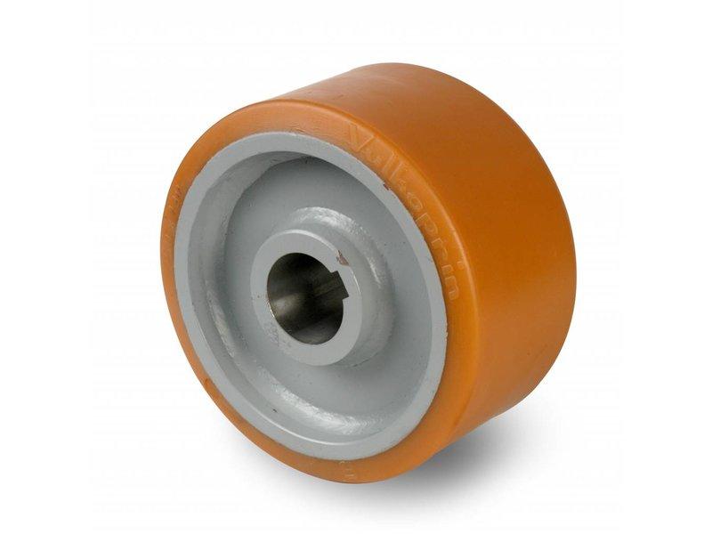 Schwerlast Räder und Rollen Antriebsräder Vulkollan® Bayer  Lauffläche Radkörper aus Stahlschweiß, H7-Bohrung Bohrung mit Paßfedernut DIN 6885 JS9, Rad-Ø 400mm, 65KG