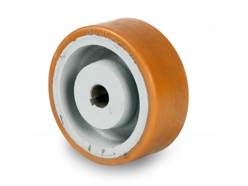 Schwerlast Räder und Rollen Antriebsräder Vulkollan® Bayer  Lauffläche Radkörper aus Gußeisen, H7-Bohrung Bohrung mit Paßfedernut DIN 6885 JS9, Rad-Ø 125mm, 130KG