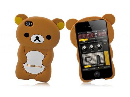 Силиконовый чехол мишка Rilakkuma для iPhone 4, 4S