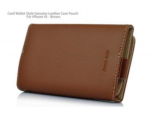 Кожаный кошелек чехол для iPhone 4, 4s Песочный