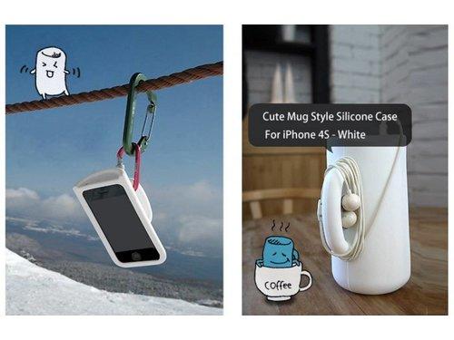 Силиконовый чехол кружка для iPhone 4/4s Белый