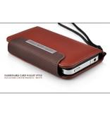 Стильный кожаный кошелек чехол для iPhone 4, 4S
