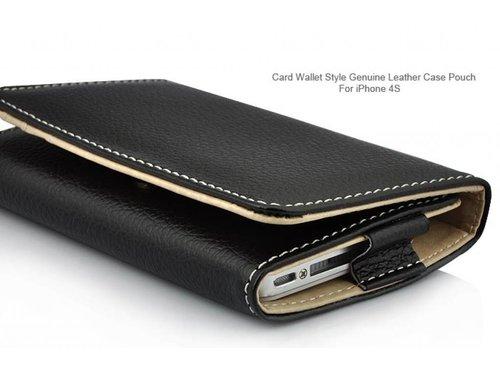 Кожаный кошелек-чехол для iPhone 4 4s Черный