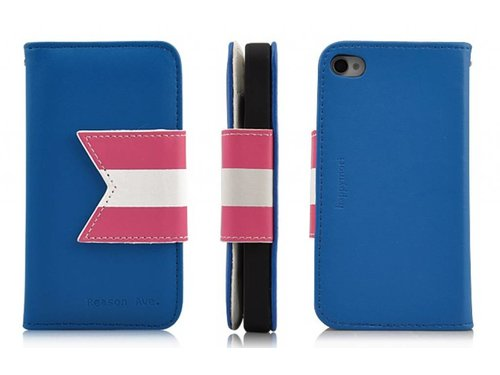 Яркий чехол кошелек Happymori для iPhone 4,4S Синий