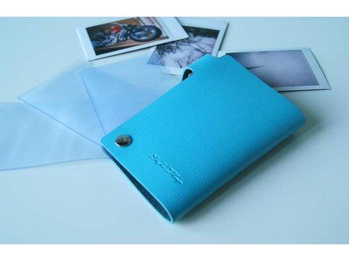 Голубой кожаный фотоальбом для фотографий Fujifilm Mini
