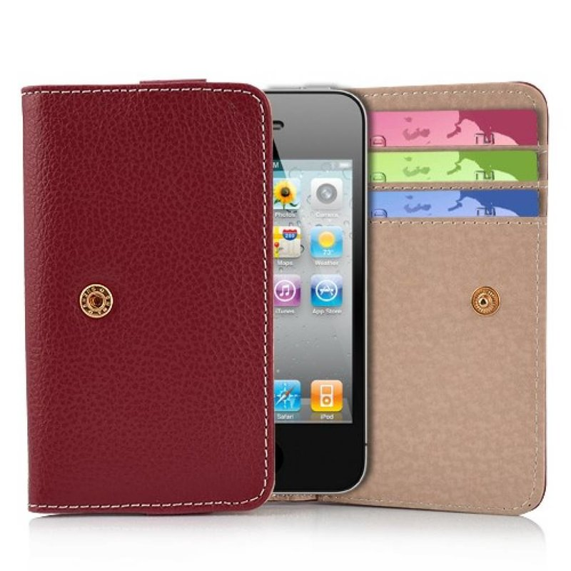Кожаный кошелек для iPhone 4, 4s Красный