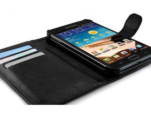 Кожаный чехол кошелек книжка для Samsung Galaxy Note i9220 Черный